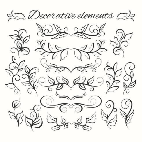 Conjunto de divisores de mão desenhada. Elementos decorativos ornamentais. Conjunto floral. vetor