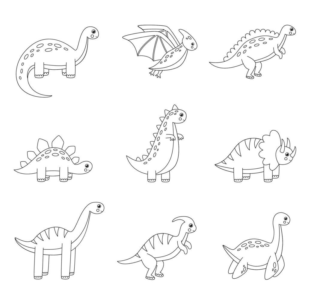 conjunto de cores dos dinossauros dos desenhos animados. página para colorir para crianças. vetor