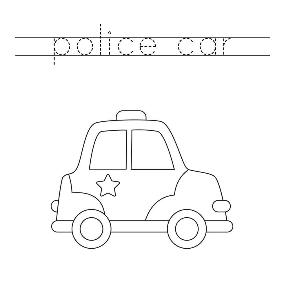 rastreamento de letras com carro de polícia de desenho animado. prática da escrita. vetor