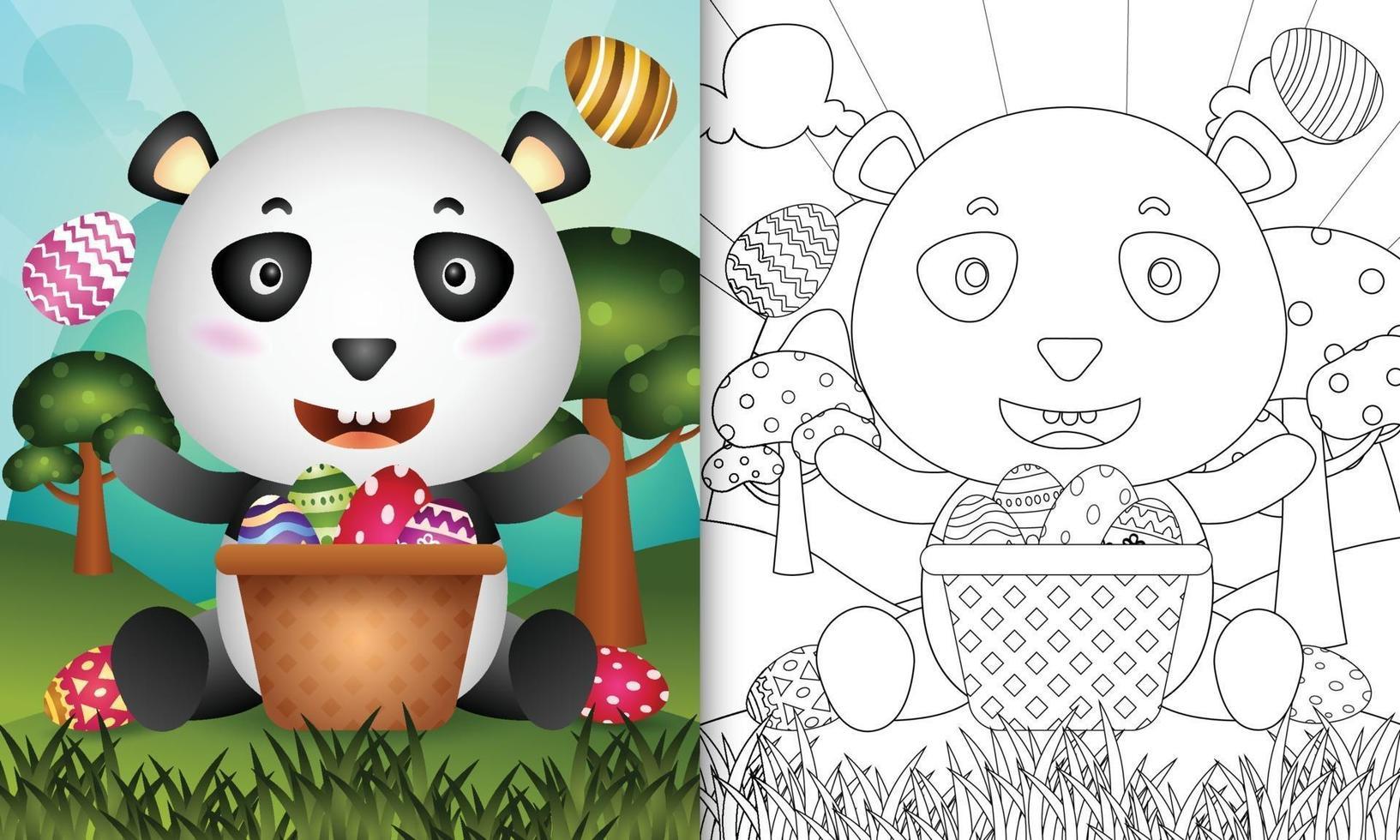 livro de colorir para crianças com tema feliz dia de Páscoa com ilustração de um panda fofo no ovo balde vetor