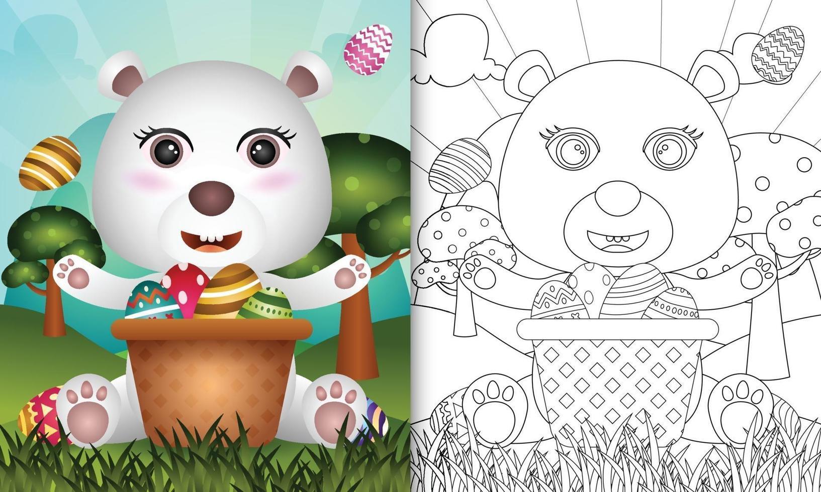livro de colorir para crianças com tema feliz dia de Páscoa com ilustração de um urso polar fofo no ovo balde vetor