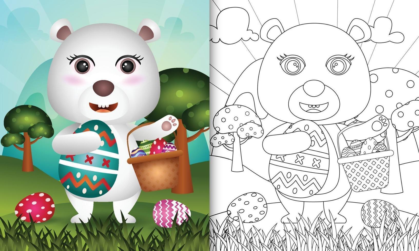 livro de colorir para crianças com tema feliz dia de páscoa com ilustração de personagem de um urso polar fofo segurando o ovo de balde e o ovo de páscoa vetor