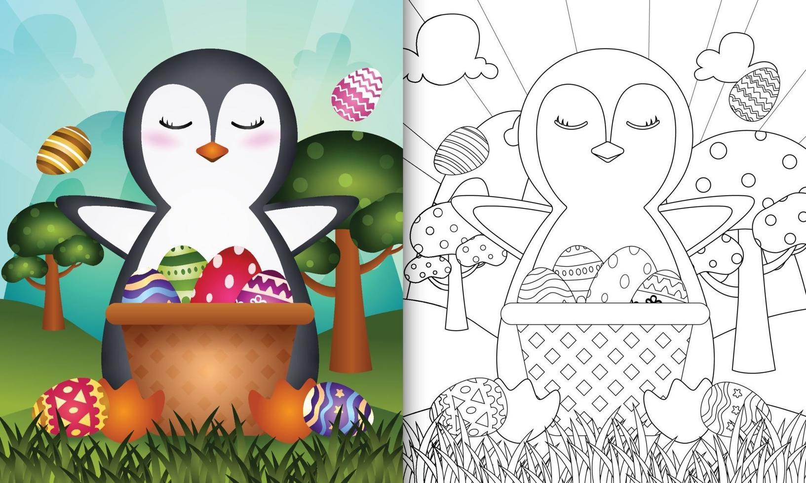 livro de colorir para crianças com tema feliz dia de Páscoa com ilustração de um pinguim fofo no ovo balde vetor