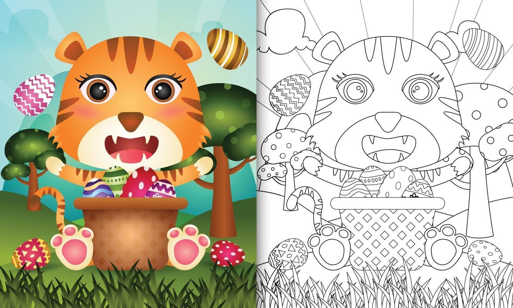 livro de colorir para crianças com tema feliz dia de Páscoa com ilustração de um tigre fofo no ovo balde vetor