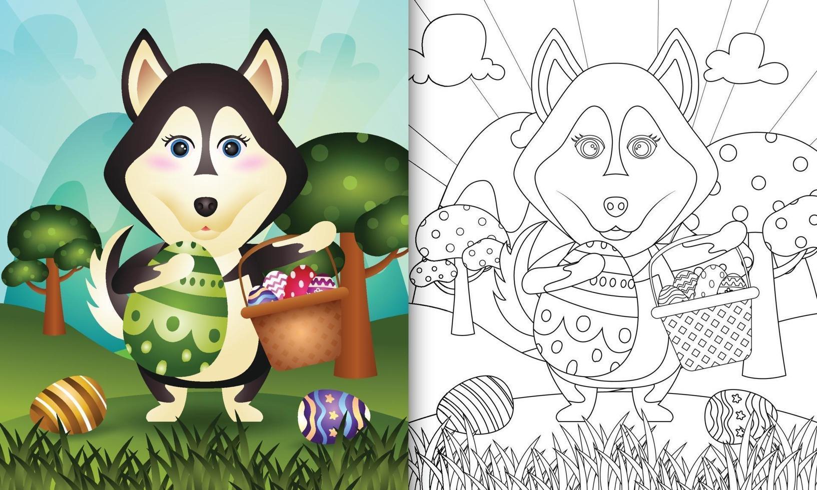 livro de colorir para crianças com tema feliz dia de páscoa com ilustração de personagem de um cão husky fofo segurando o ovo de balde e o ovo de páscoa vetor