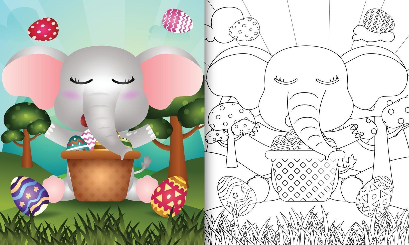 livro de colorir para crianças com tema feliz páscoa com ilustração de um elefante fofo no ovo balde vetor