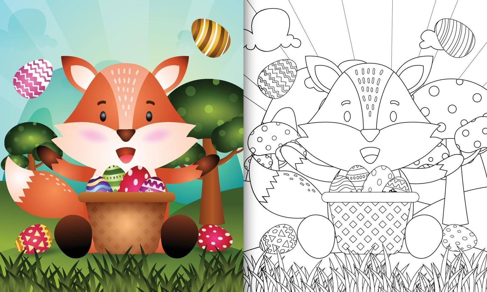 livro de colorir para crianças com tema feliz dia de Páscoa com ilustração de personagem de uma raposa fofa no ovo balde vetor