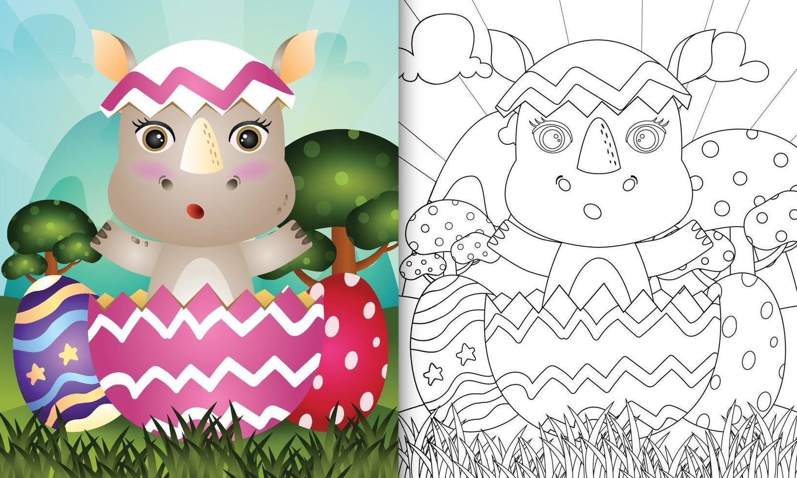 livro de colorir para crianças com tema feliz dia de páscoa com ilustração de um lindo rinoceronte no ovo vetor