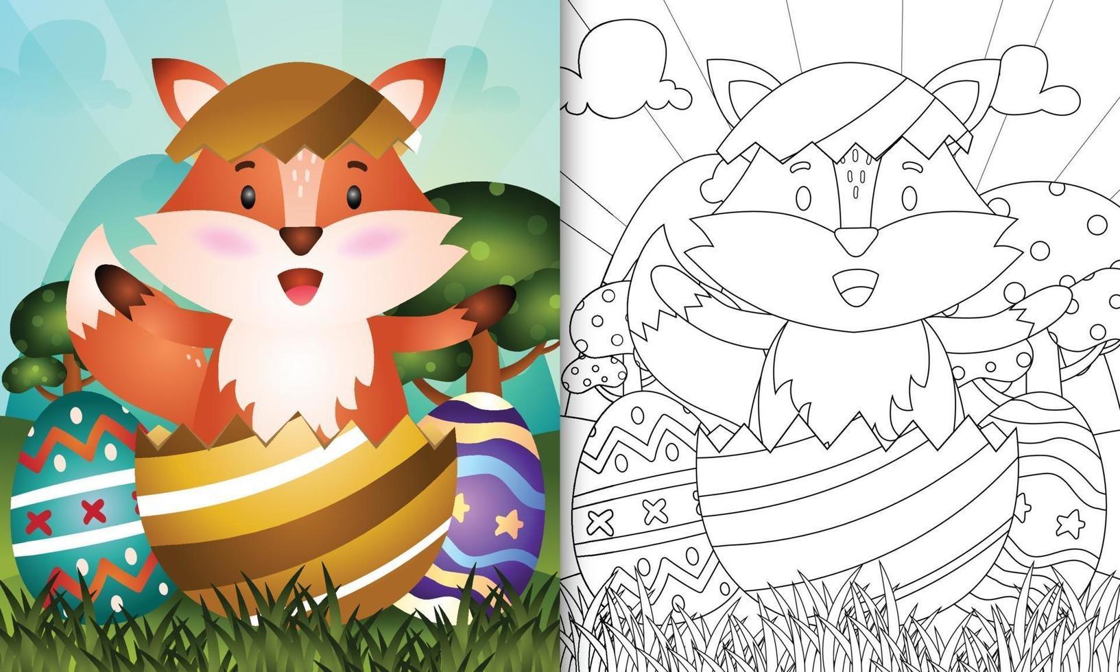 livro de colorir para crianças com tema feliz páscoa com ilustração de uma linda raposa no ovo vetor