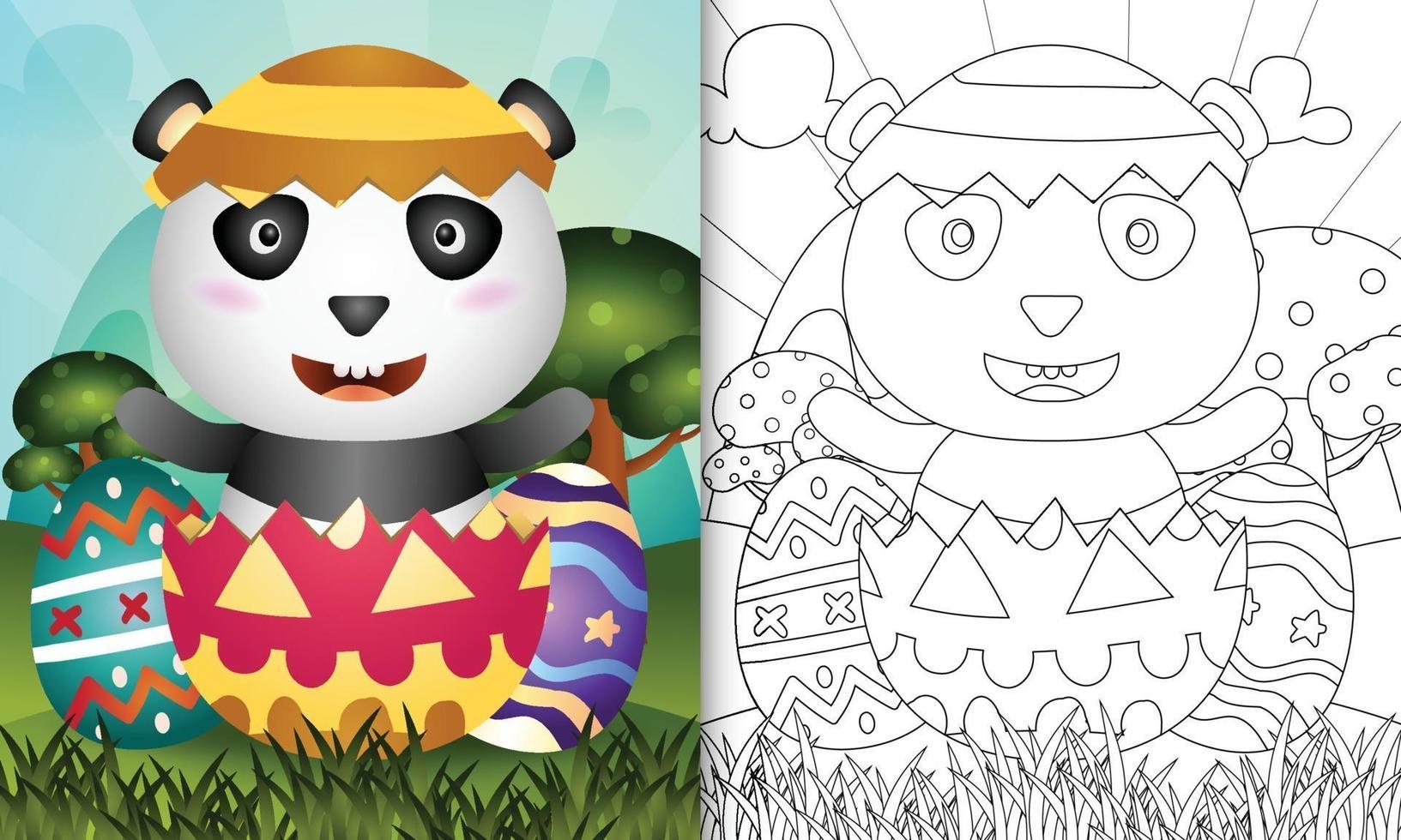 livro de colorir para crianças com tema feliz dia de Páscoa com ilustração de um panda fofo no ovo vetor