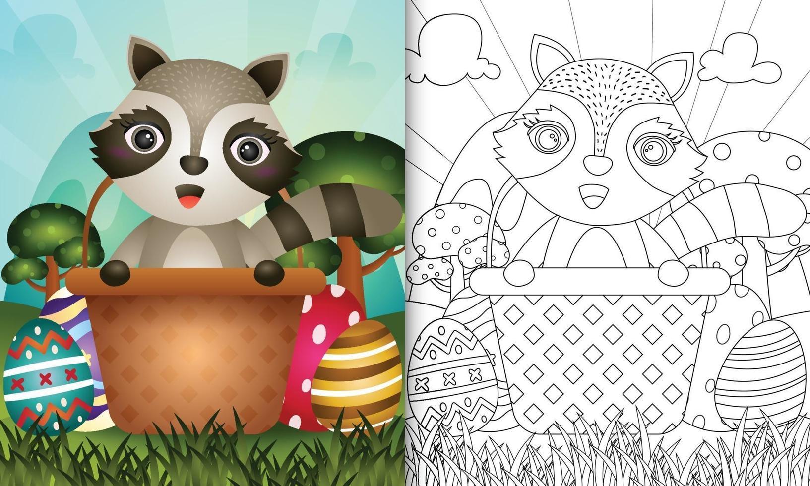 livro de colorir para crianças com tema feliz dia de páscoa com ilustração de um guaxinim fofo no ovo balde vetor