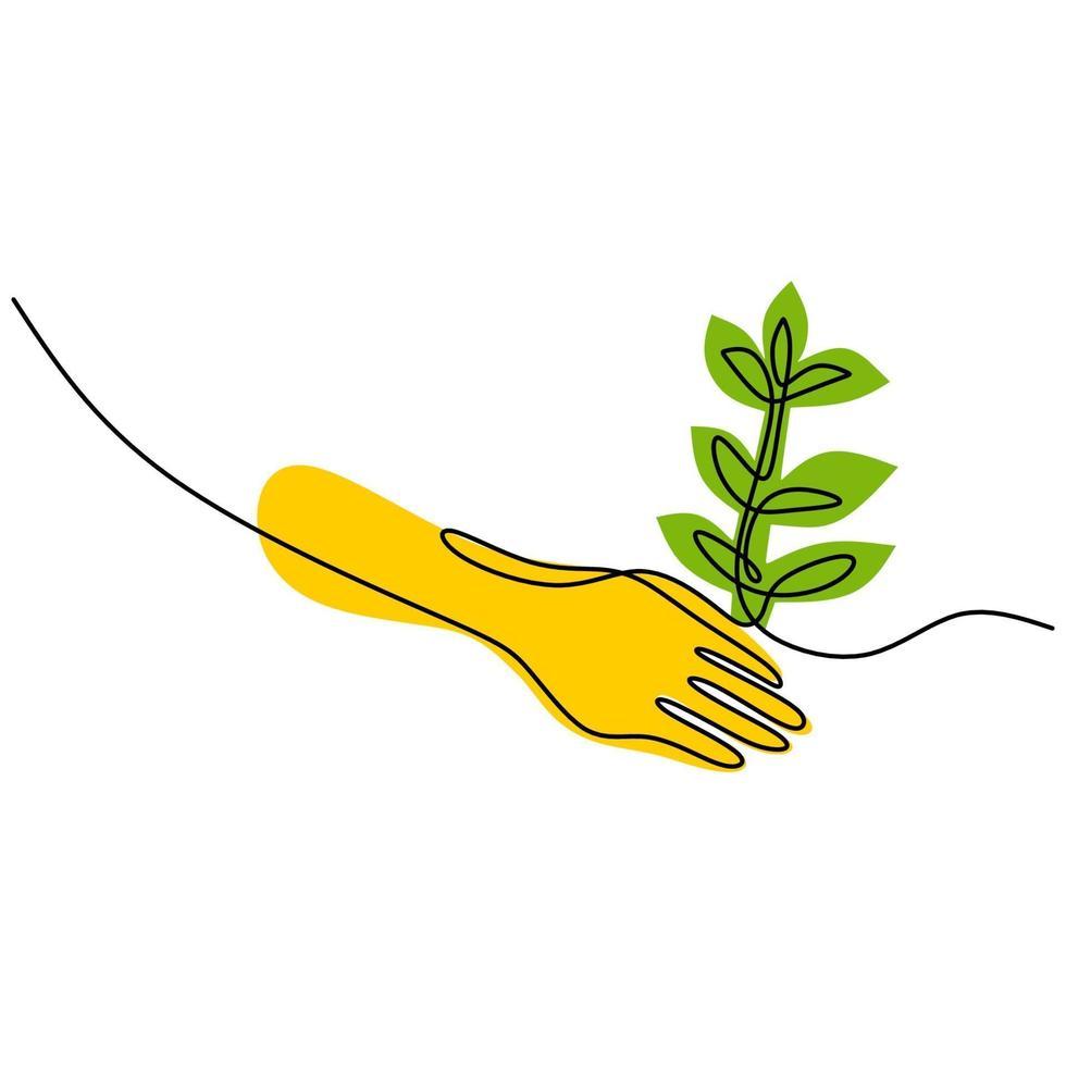 contínuo um desenho de linha de mãos está plantando uma planta. meio ambiente dia da terra isolado no fundo branco. de volta ao tema da natureza. o conceito de crescer e amar a terra. ilustração vetorial vetor