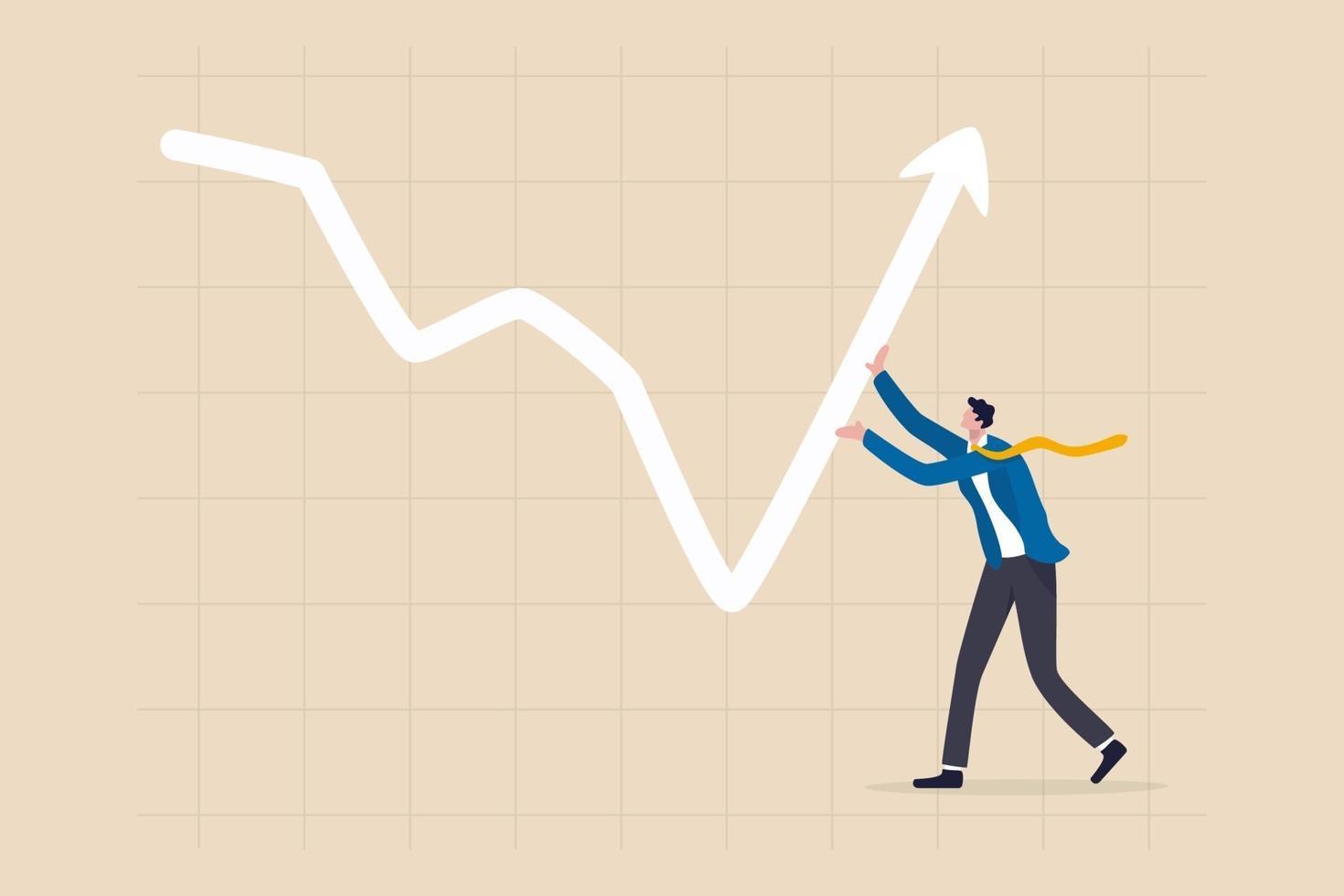 investidor empurrando um gráfico de seta e um gráfico para subir vetor