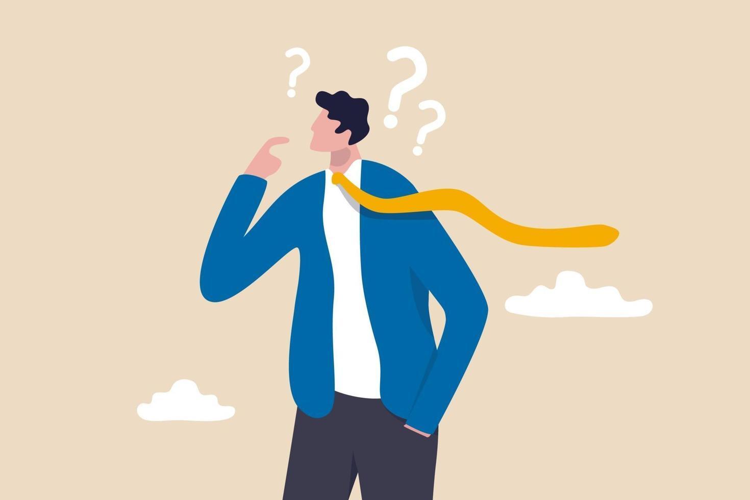 cético, desconfiado ou questionador sobre o negócio, pensando para tomar uma decisão, duvidoso ou confuso conceito vetor