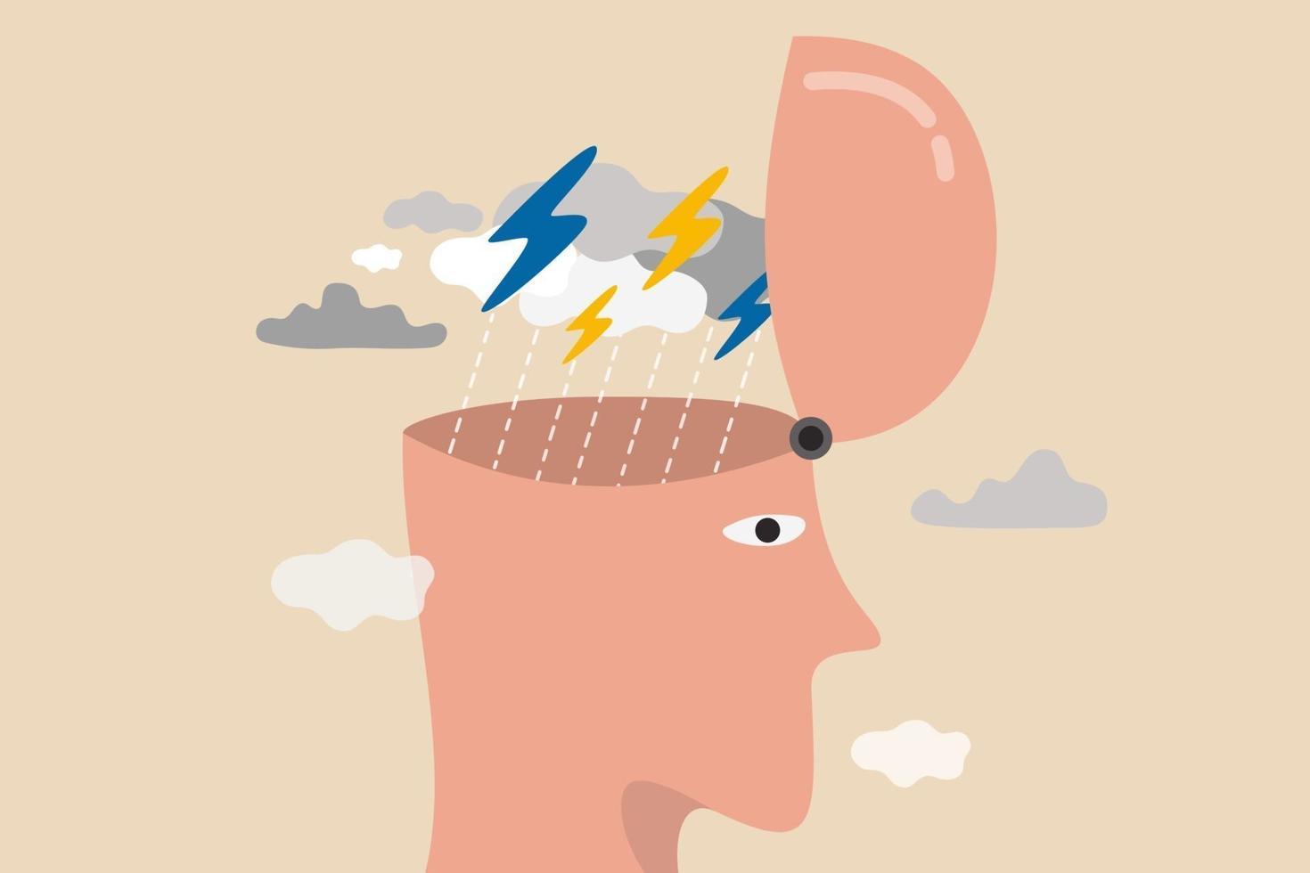 conceito de emoção depressão, raiva, estresse e ansiedade vetor