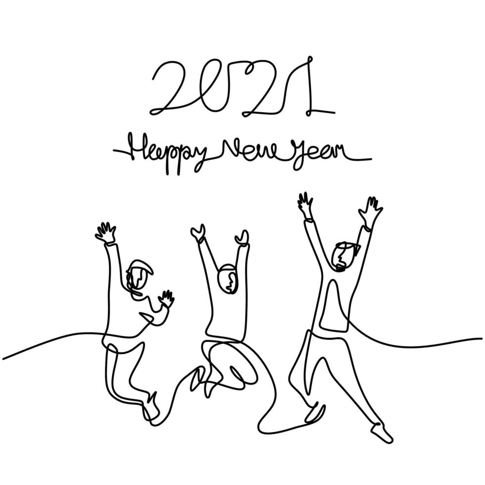 homens e mulheres felizes dão as boas-vindas ao desenho de uma linha contínua de ano novo. masculino e feminino no conceito de festa de ano novo, isolado no fundo branco. comemorando o ano novo de 2021. ilustração vetorial vetor