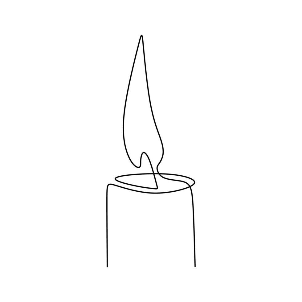 um desenho de linha contínua de vela acesa. queimando fogo e derretendo vela isolado no fundo branco. luz no design de contorno preto conceito escuro. estilo minimalista. ilustração vetorial vetor
