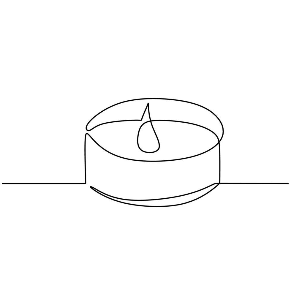 vela um desenho de linha contínuo. queimando velas acesas aromáticas em copo isolado no fundo branco. o conceito de spa ou salão de beleza para relaxar o design minimalista de arte em linha desenhada à mão vetor