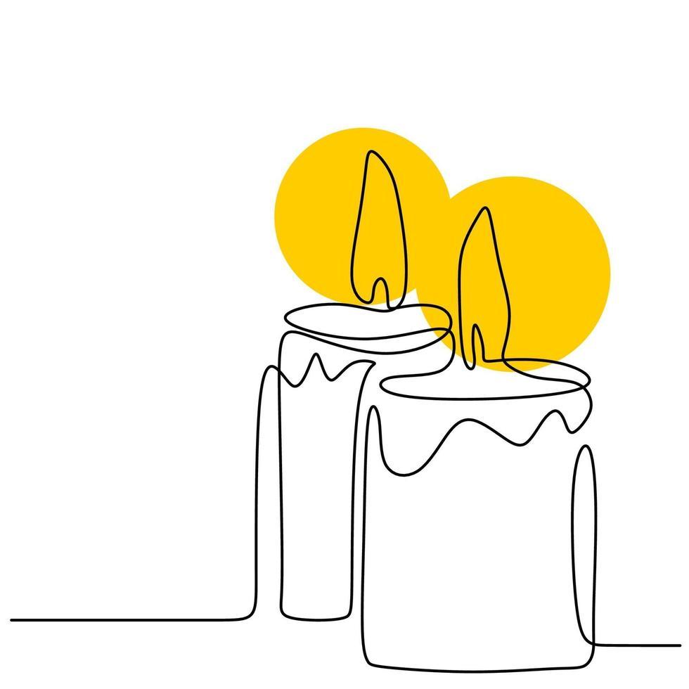 lindas velas contínuo um desenho de linha. duas velas acesas e derretendo. desenhado à mão de um par de velas minimalismo design em fundo branco. ilustração vetorial isolada vetor