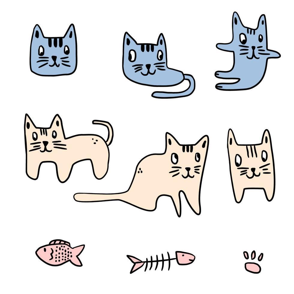 conjunto de gatos de desenhos animados de pose diferente. personagem engraçado animal gatinho. ilustração vetorial isolada no fundo branco. bom para design, cartões postais, capas, estampas, roupas, têxteis, papel de parede. vetor