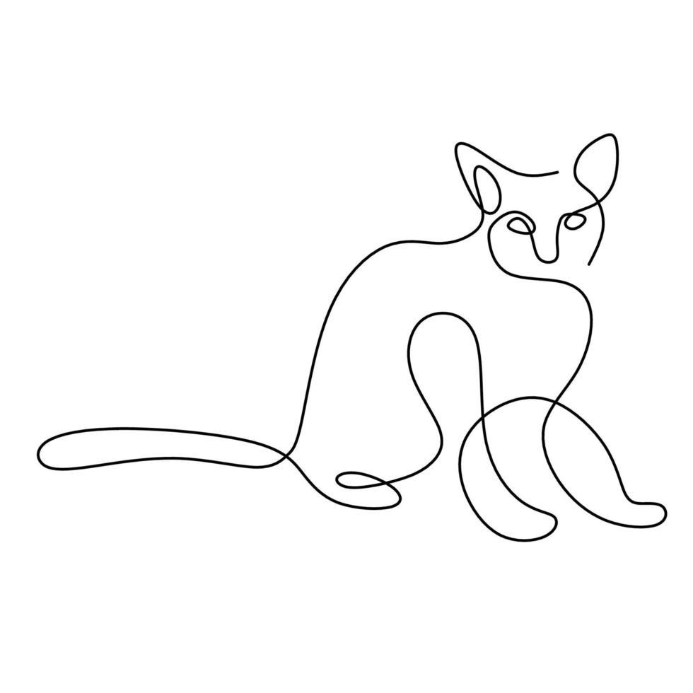 gatos minimalistas em estilo abstrato desenhado à mão. um desenho de linha de animais gato fofos isolados no fundo branco. amo o conceito de animal de estimação. ilustração vetorial. doodle animais ícones arte de linha minimalista. vetor