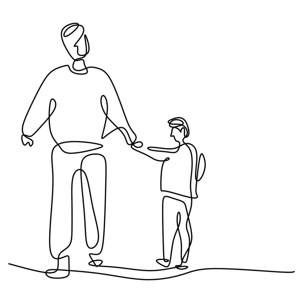 um desenho de linha de pai e filho. jovem papai segurando seu filho e caminhando juntos na rua para se exercitar pela manhã. conceito de tempo para a família feliz. estilo minimalista. ilustração vetorial vetor