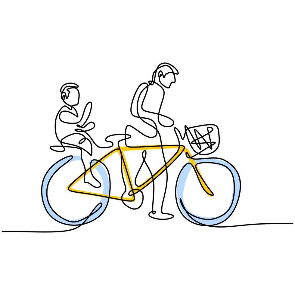 um desenho de linha contínua de um pai empurrando a bicicleta com o filho sentado no banco de trás juntos no campo. a criança e o pai estão aproveitando o verão. tema parental vetor