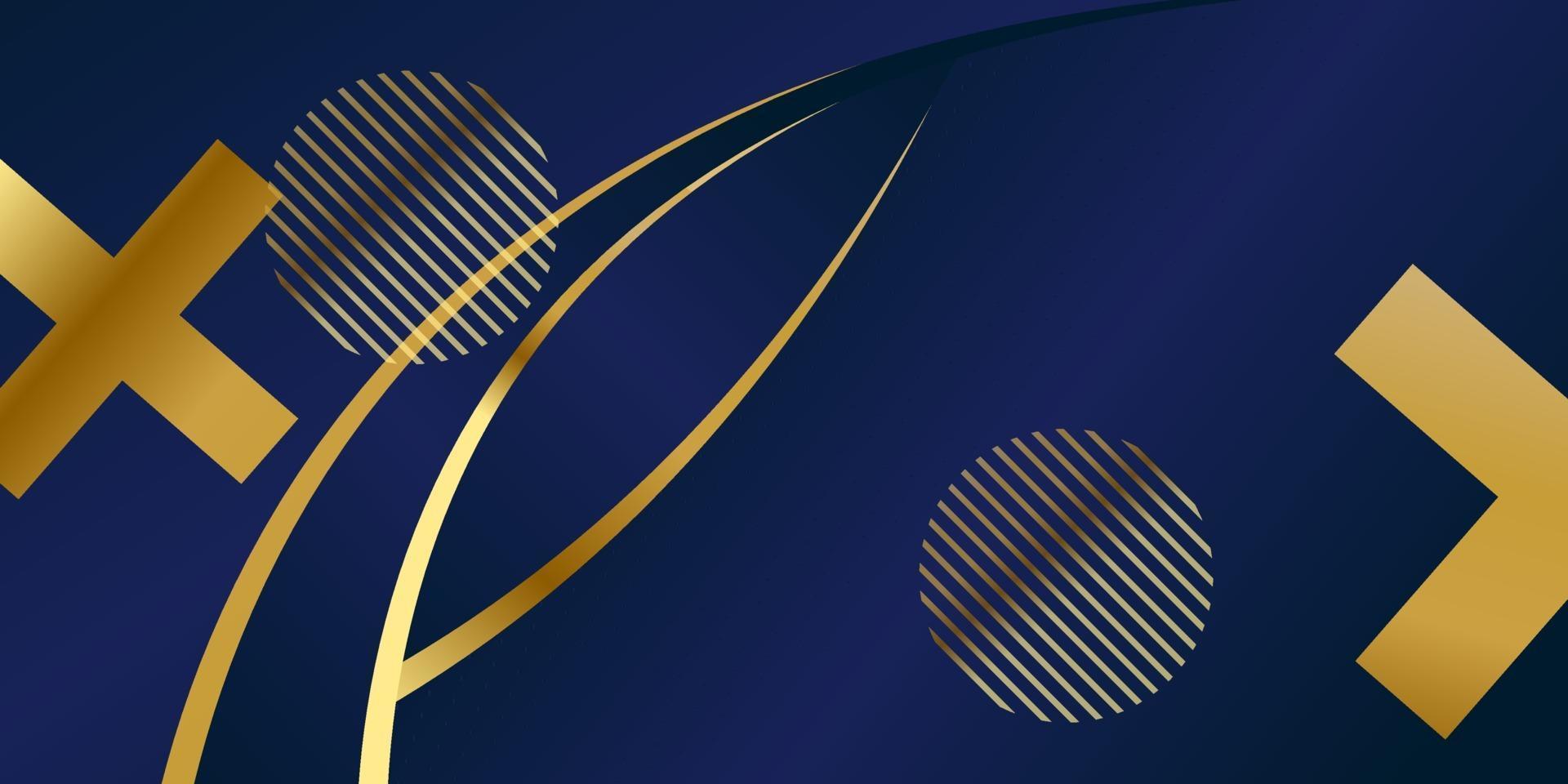 padrão poligonal abstrato luxo azul escuro com ouro vetor