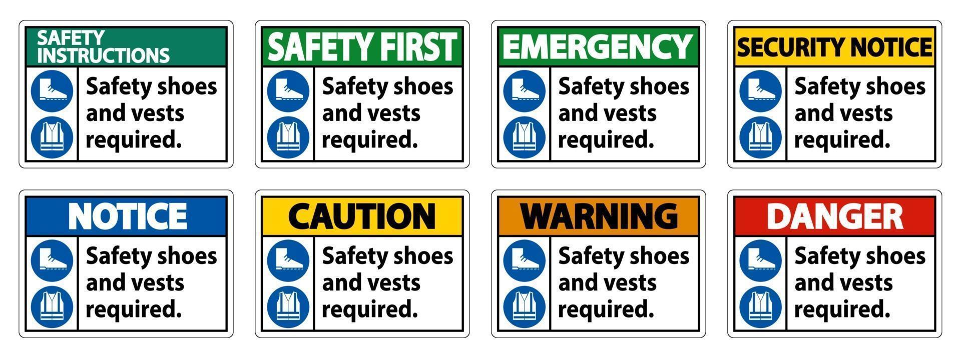 sapatos de segurança e colete necessários com símbolos ppe em fundo branco vetor