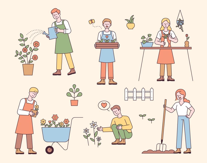 pessoas jardinando, plantando ou regando flores. ilustração em vetor mínimo estilo design plano.