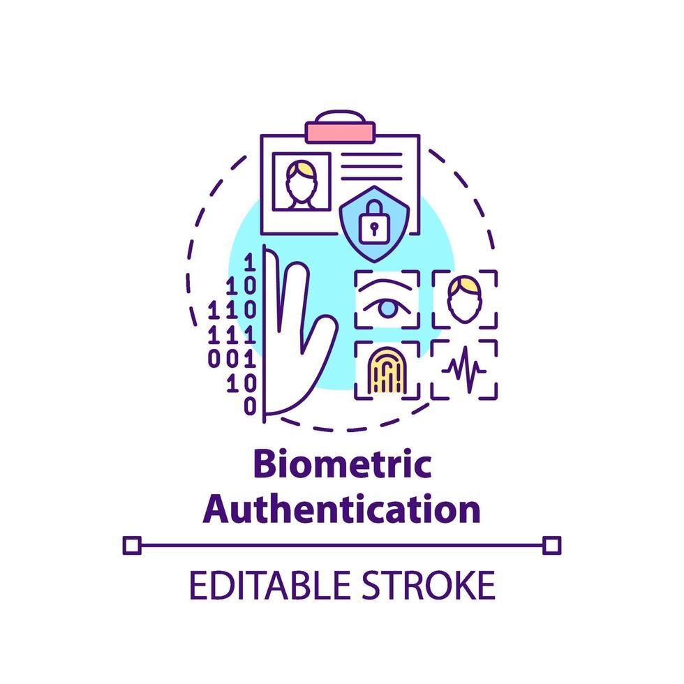 ícone do conceito de autenticação biométrica vetor