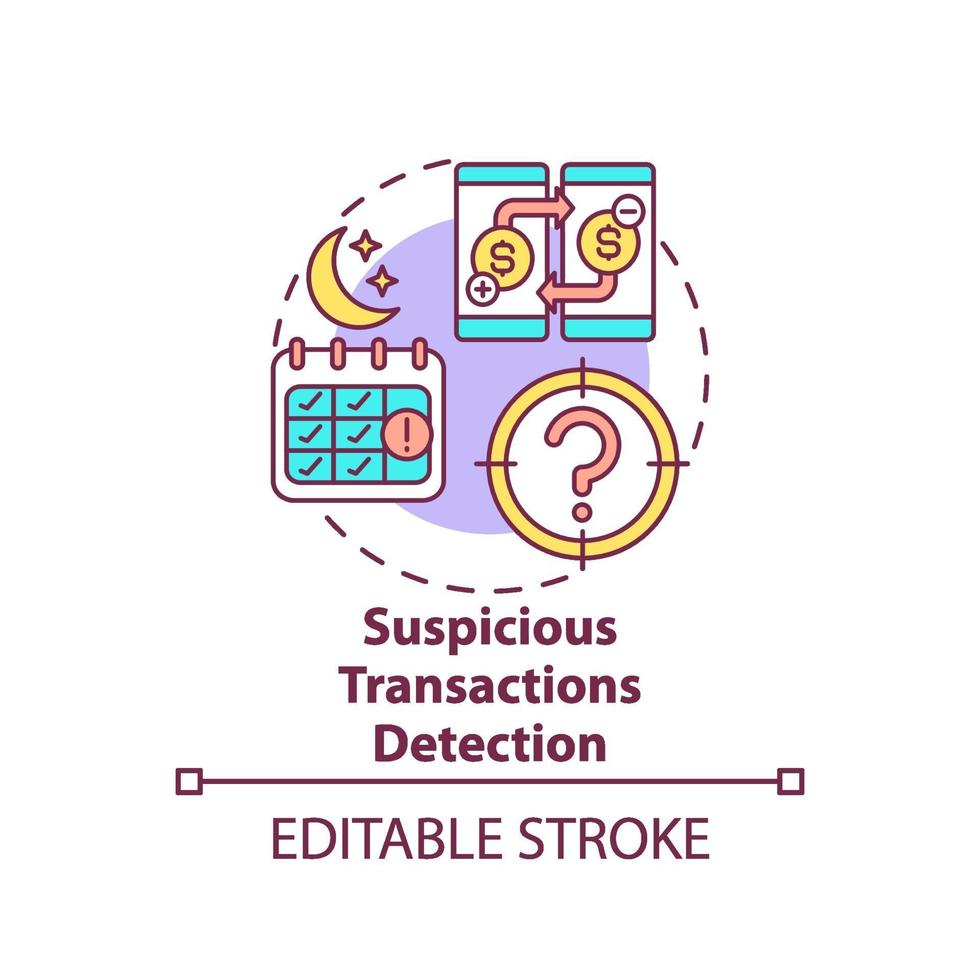 ícone do conceito de detecção de transações suspeitas vetor