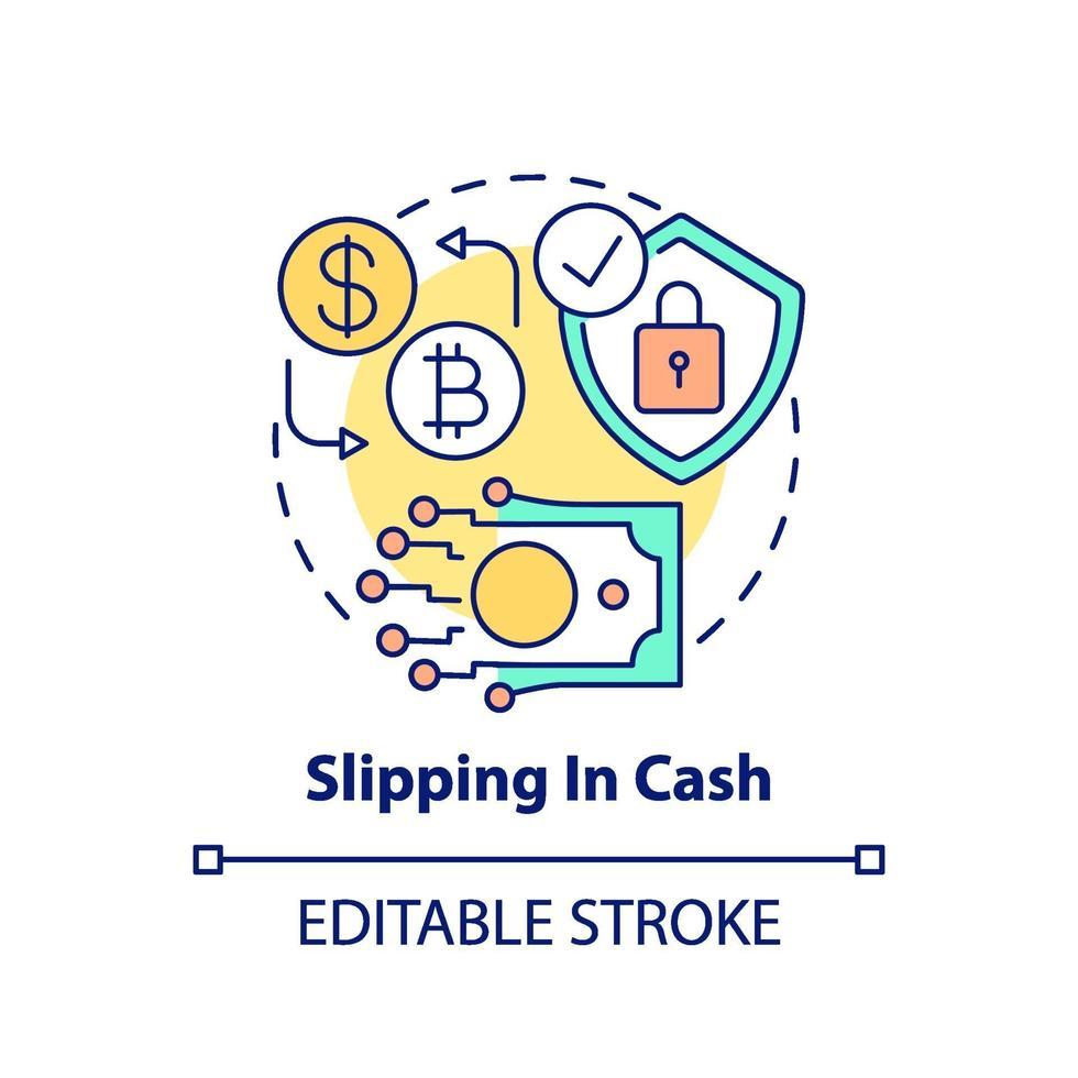 escorregando no ícone do conceito de dinheiro vetor