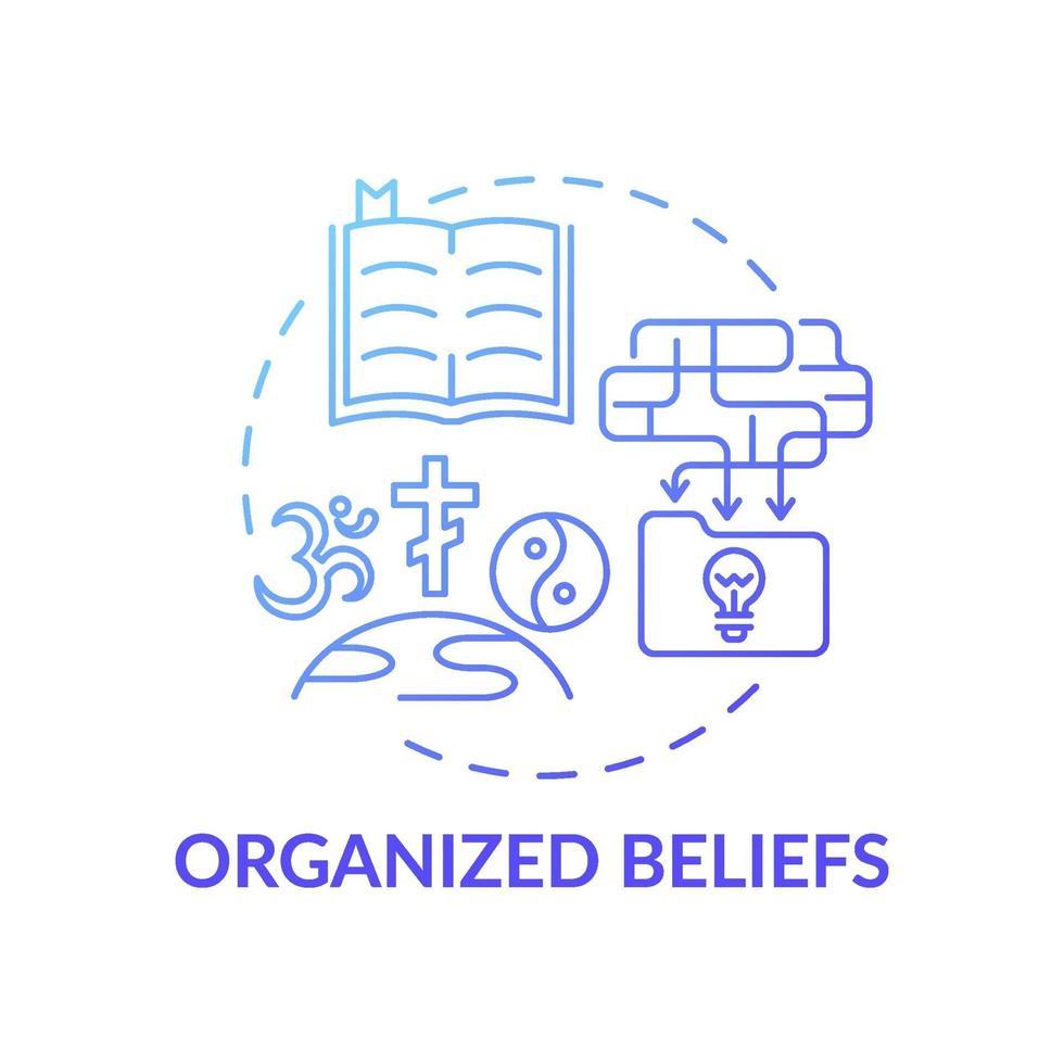 ícone de conceito de gradiente azul de crenças organizadas vetor