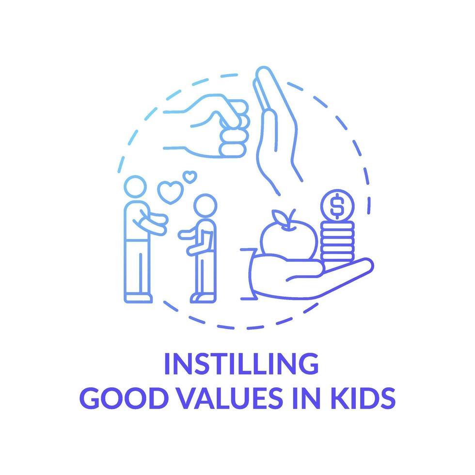 incutindo bons valores no ícone do conceito de gradiente azul infantil vetor