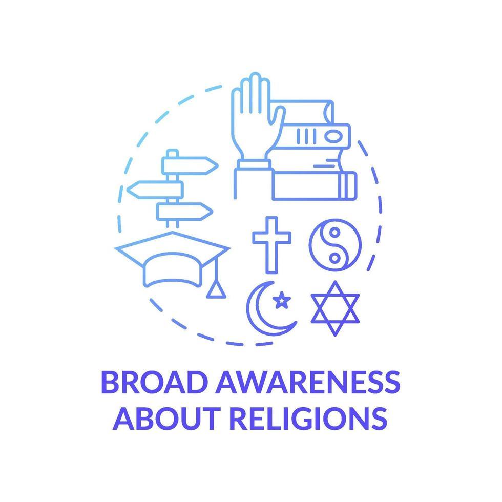 ampla consciência sobre ícone de conceito gradiente azul de religião vetor