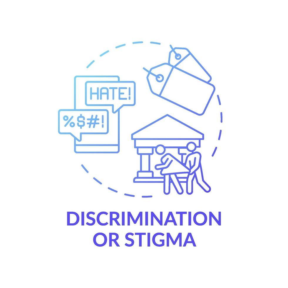 ícone do conceito gradiente azul discriminação ou estigma vetor