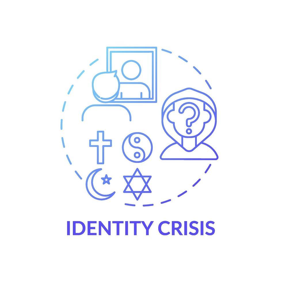 ícone de conceito de gradiente azul de crise de identidade vetor