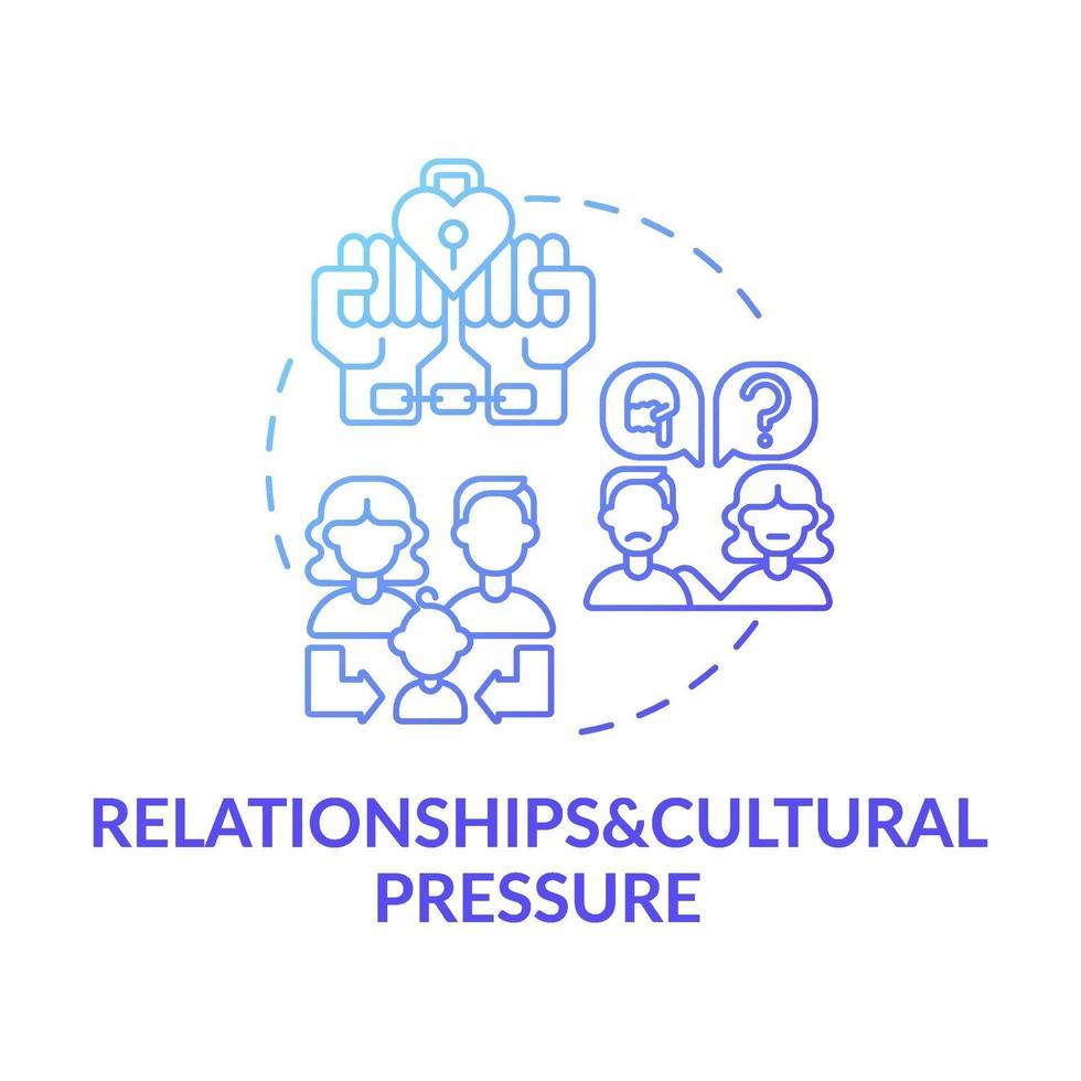 ícone de conceito de gradiente azul de relacionamento e pressão cultural vetor