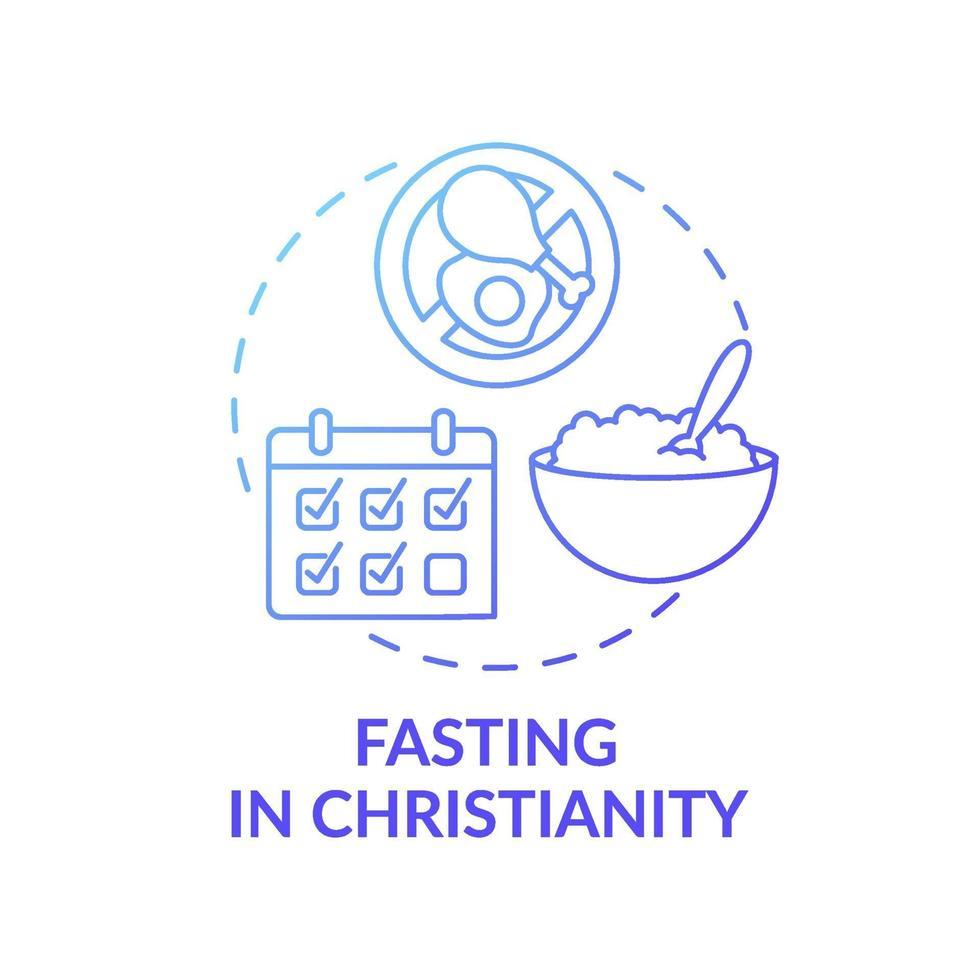ícone de conceito gradiente azul jejum no cristianismo vetor