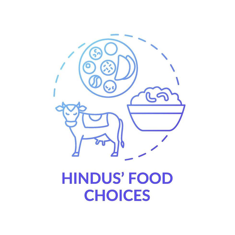 ícone de conceito de gradiente azul de escolha de comida hindu vetor