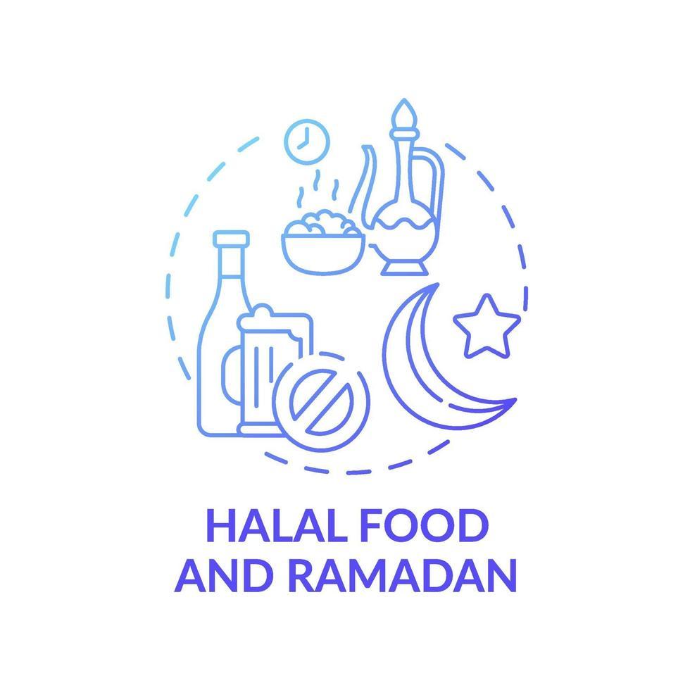 comida halal e ícone do conceito gradiente azul ramadan vetor