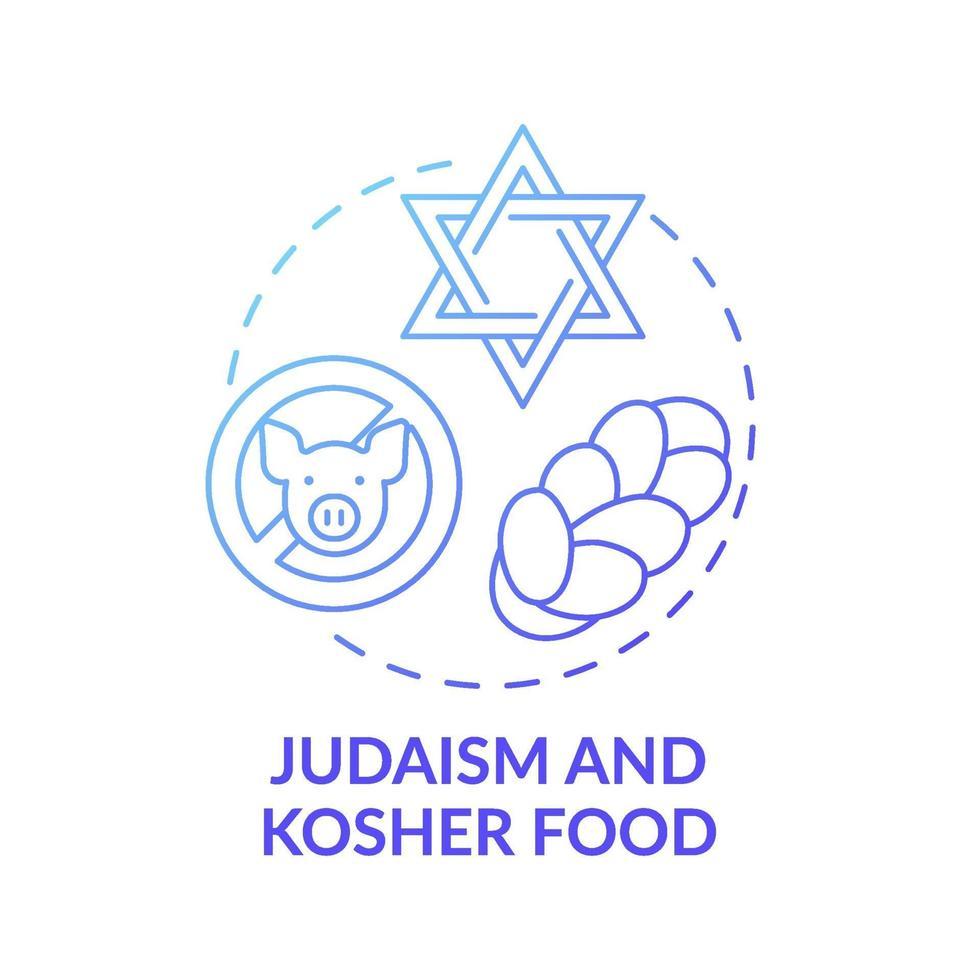 ícone do conceito gradiente azul de comida judaísmo e kosher vetor