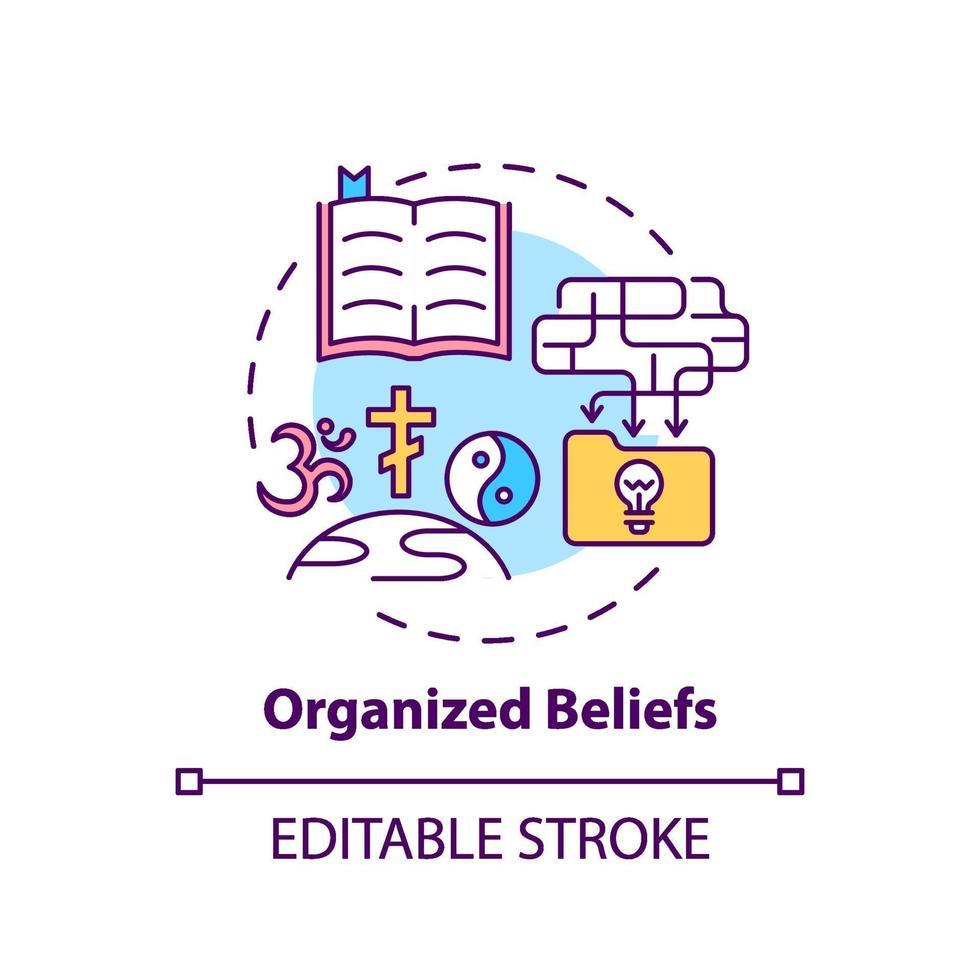 ícone do conceito de crenças organizadas vetor