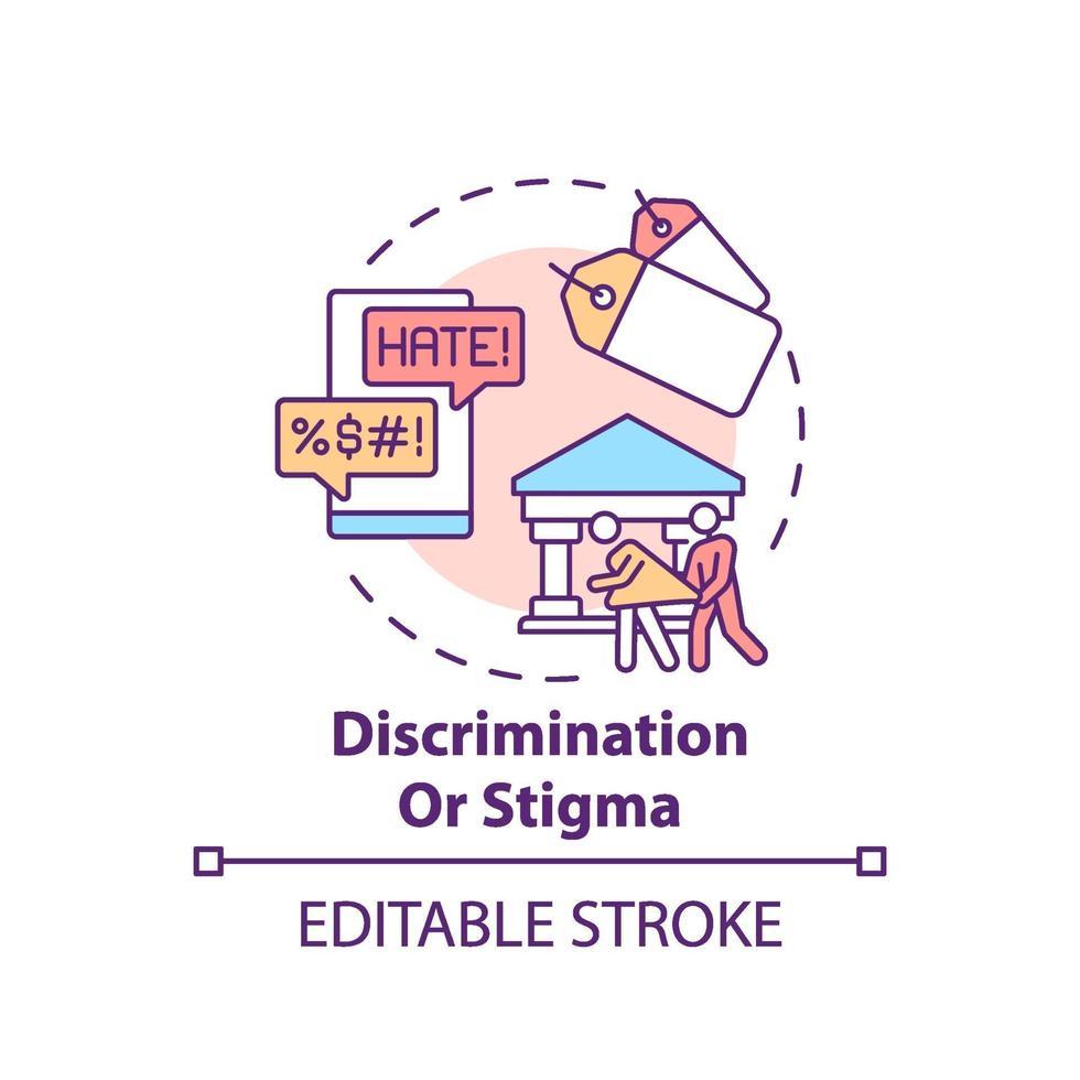 ícone do conceito de discriminação ou estigma vetor