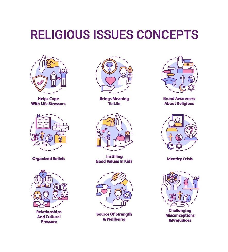 conjunto de ícones de conceitos de questões e valores religiosos vetor