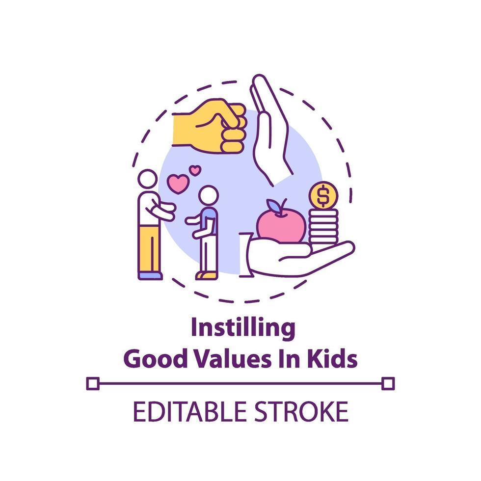 instilando bons valores no ícone do conceito infantil vetor