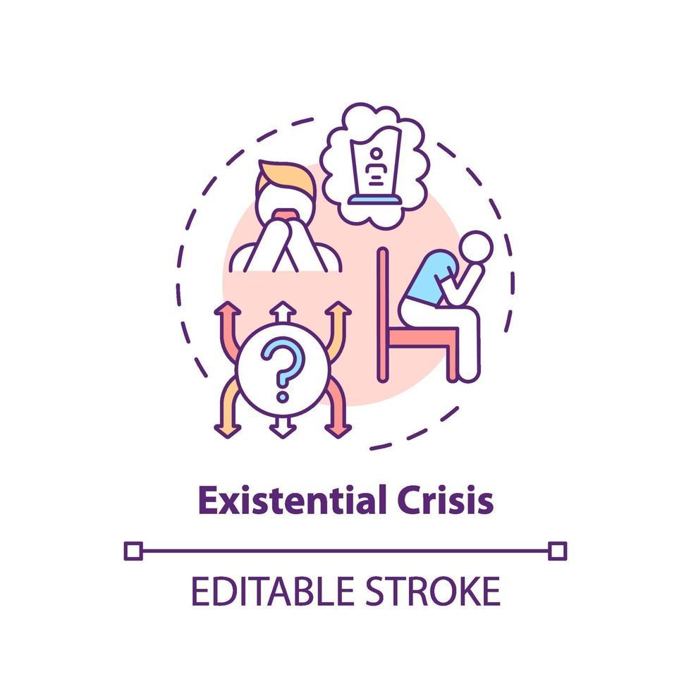 ícone do conceito de crise existencial vetor