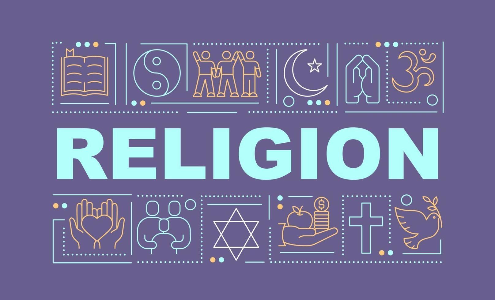 banner de conceitos de palavras de religião vetor