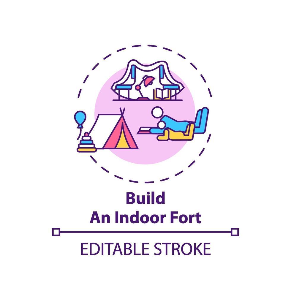 construir um ícone de conceito de forte coberto vetor